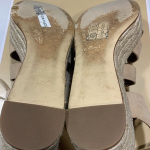 Michael Kors Shoes - Michael Kors Sofia Mid Wedge Suede Bone size 6.5